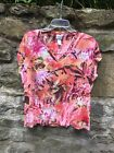 Casual PINK Red Multi Print SHORT SLEEVE Top CHICOS Size 2 14 16 Gently Worn