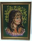 Beaded Needlepoint Girl With a Tear Lev Dokor Finished Framed 17x20 inches