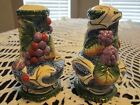 Fitz and Floyd Florentine Fruit Salt & Pepper Shakers #58/132-BL New in Box Nice