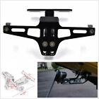 Black Aluminium Alloy Motorcycle License Plate Holder Bracket Folding Mount Kit