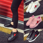 Womens Ladies Trainers Flat Embroidered Flower Sneakers Lace Up Pumps Shoes Hot