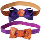 Clemson Tigers Girls Infant Glitzy Headband Set with Interchangeable Bows