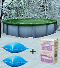 30 Round Above Ground Winter Pool Cover + 4x4 Air Pillows + Winterizing Kit