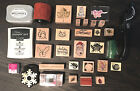 HUGE RUBBER STAMP COLLECTION Wood Holiday Christmas Cat LOT Scrapbook Stampede
