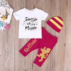 US Newborn Kids Baby Boy Harry Potter T shirt Tops+Pants Hat 3pcs Outfits Set