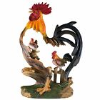 Rooster and Hen In Rooster Frame Chicken Figurine Resin 12 High New In Box