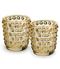 LALIQUE MOSSI GOLD LUSTER VOTIVES PAIR 10370200 BRAND NEW IN BOX CRYSTAL F SH