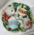 Fitz and Floyd Essentials KRISTMAS KITTY  CANAPE PLATE. Wall hanging EUC