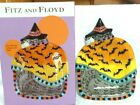 Fitz and Floyd Halloween Kitty Witches Bats Canape Plate