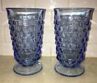 INDIANA WHITEHALL COLONY Glass CUBIST TUMBLERS (2) Vintage 1960's Light Blue