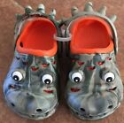 Toddler Boys Dinosaur Olive Green  Orange Clogs Size Small 5 6  NEW