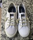Sperry Seacoast White Canvas Womens Shoes Slip on no lace Sneakers