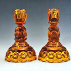 2 L E Smith MOON and STARS Amber 6 inch Candlesticks / Candle Holders