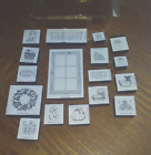1994 Stampin Up Set of 17 Rubber Stamps Country theme Flowers Windows Cat etc