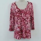 TALBOTS Soft Romantic Pink Rose Print Stretch Knit Tunic Top Womens Size L
