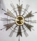 ANTIQUE VINTAGE MID CENTURY GERMAN WELBY 8 DAY RUNNING STARBURST WALL CLOCK