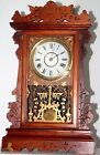 ANTIQUE RUNNING 1887 SETH THOMAS CARVED OAK CITY SERIES KITCHEN PARLOR CLOCK