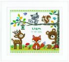 VERVACO FOREST ANIMALS BIRTH SAMPLER BABY RECORD COUNTED CROSS STITCH KIT