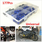 Universal 177Pcs Blue Metal Fairing Bolt Kit Bodywork Screws For Motorcycle ATV