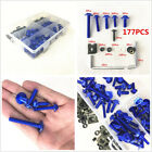 177 X Blue Aluminum Motorcycle Bike Fairing Bolt Kit Bodywork Screws Spire Screw