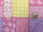 FLANNEL FABRIC PATCHWORK Quilt Pink Purple Yellow Cheater Rose Floral Cotton 685