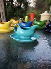 FIESTA WARE GRAVY BOAT SAUCEBOAT  DRIP TRAY turquoise blue NEW