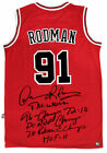 Dennis Rodman Autographed Chicago Bulls NBA Basketball Red Stat Jersey ASI Proof