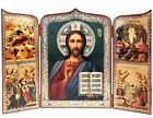 Russian Icon Triptych Christ the Teacher Jesus Nativity Feast Days 10 1 2 Inch