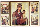 Madonna  Child Virgin Mary Quick to Hear Russian Wooden Icon Triptych Nativity