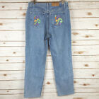 Vtg 90s does 70s Embroidered Jeans 12 High Waist Boho Hippie Grunge Tapered