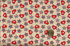 PATRIOTIC Hearts Stars Toss on Tan Cotton Fabric BTY