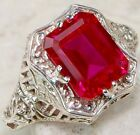 3CT Ruby 925 Solid Genuine Sterling Silver Victorian Style Filigree Ring Sz 6
