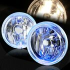4 Round Blue Halo Chrome Housing Clear Lens Fog Driving Lights Lamps Universal