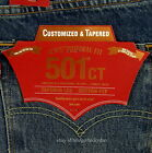 Levis 501 CT Jeans Mens Button Fly Size 38 x 32 BLUE DISTRESSED Tapered Leg NWT