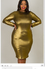 SXY SILVR GOLD METALLIC COCKTAIL BODYCON LONG WOMEN PLUS COCKAIL DRESS 1X/2X/3
