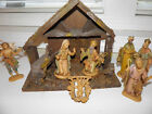 Vintage Nativity In Manger Depose Italy Spider Mark Plastic Figures