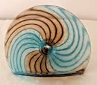 Hudson Glass Handblown Business Card Holder in Steel Blue and Brown 4 inch wide