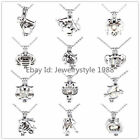 Silver Pearl Beads Cage Constellation Zodiac Steel Necklace Gemini Pisces Libra
