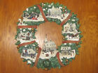 Vtg Fabulous Resin 18 Lighted Xmas Church Town WREATH  Snow Capped 3D