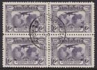 AUSTRALIA 1931 KINGSFORD SMITH 6D BLOCK OF 4 WITH CENTRAL CDS CAT 68