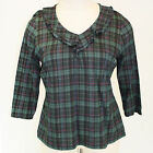 NEW NWOT Talbots Plus Size Ruffle V Neck Top Dark Green Plaided Blouse X 0X XL