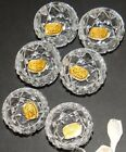Vtg Open Salt Cellars Bohemia Pressed Glass Lot 6 Spoons NOS Wedding Bridal Gift