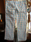 32x29 True Vtg 70s Womens HIPHUGGER PLAID BOOTCUT GLAM JEANS