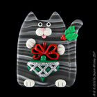 Silver Tabby Kitty Cat  Christmas Ornament Holiday Pin SWris