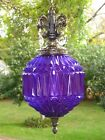 Vintage PURPLE Faceted Glass Hanging Swag Lamp Pull Chain Light w Prisms