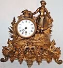 ANTIQUE RUNNING FRENCH GILT FIGURAL VICTORIAN MANTEL CLOCK W PORCELAIN DIAL