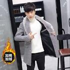 Mens Large Fur Collar Lapel Wool Blend Trench Mid Long Thicken Slim Fit Overcoat