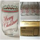 12 Anchor Hocking Merry Christmas Tumblers Glasses 12 oz in Box Red Green Holly