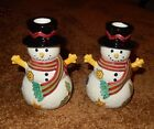 SANGO SWEET SHOPPE CHRISTMAS SNOWMAN CANDLE HOLDERS NIB.