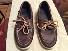 Mens SPERRY TOP SIDER Deck Shoes 75 M Brown w Accent Stitching 2 Eyelet